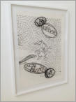 LIEBE / FOEF - Pencil on paper, sticker on glass 77 x 110 cm - 2012
